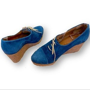 Coclico blue side wedges with ties